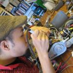 Kanta Horio working on Biting Machine