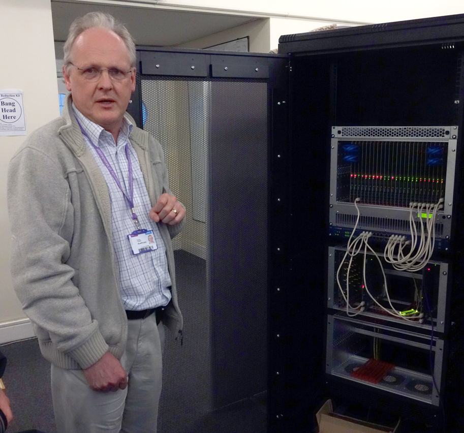 Steve Furber with one of the first SpiNNaker working units