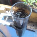 Black hot sulphuric sludge